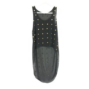 Millau Black with Gold Buttons Sheer Hi Lo Top